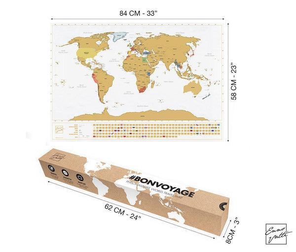 Scratch Off World Map with Bonus A4 US Map (Original)-Enno Vatti