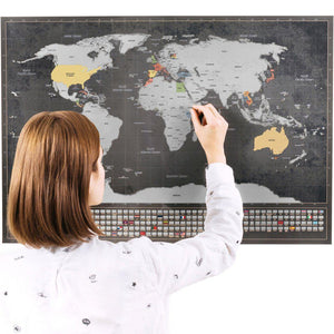 Scratch Off World Map with Flags (Silver)-Enno Vatti