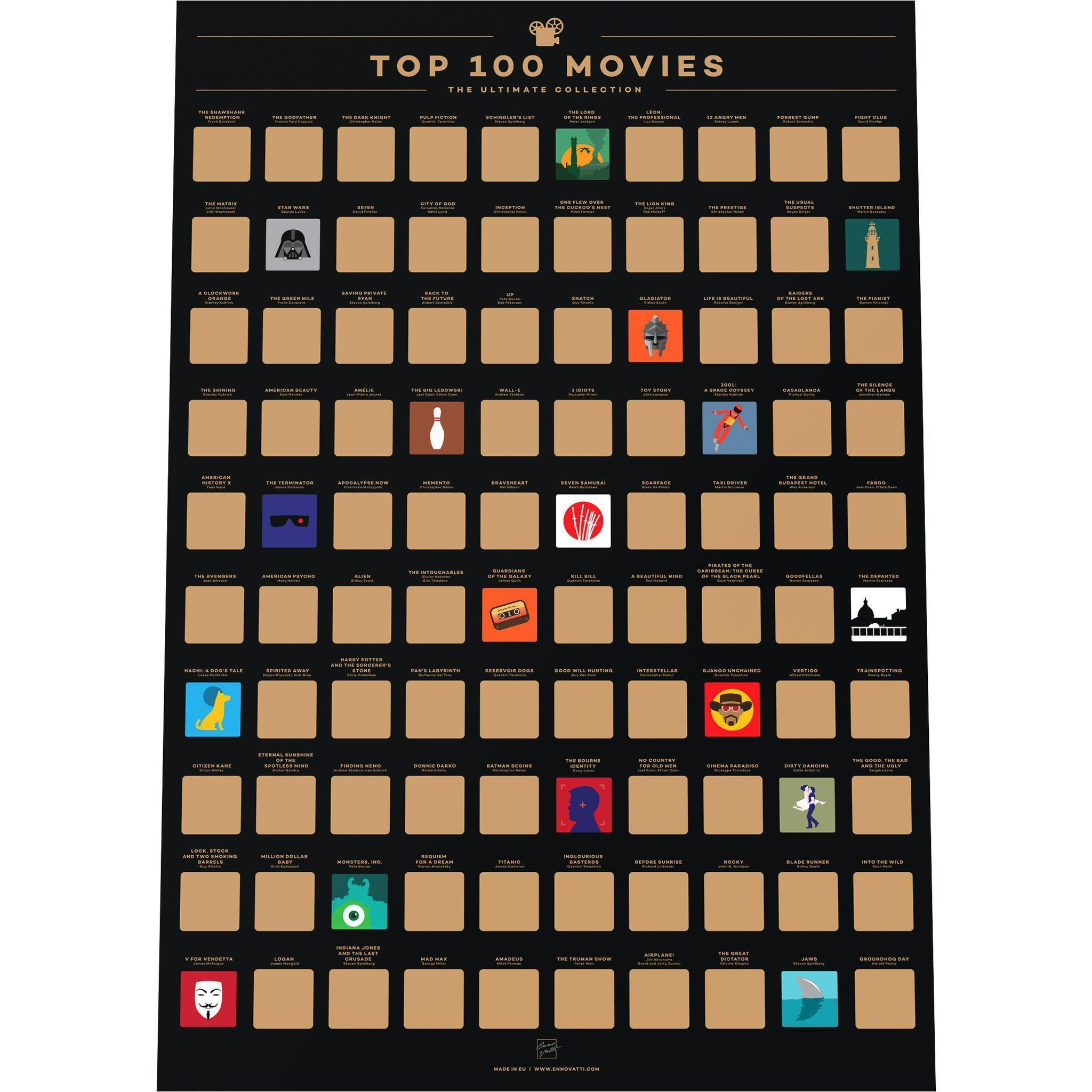 Top 100 Movies Bucket List Poster-Enno Vatti