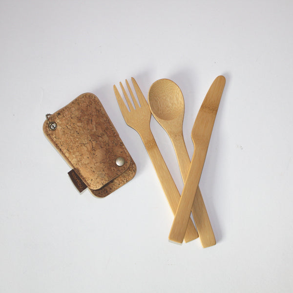 Bamboo & Cork Utensils Travel Set