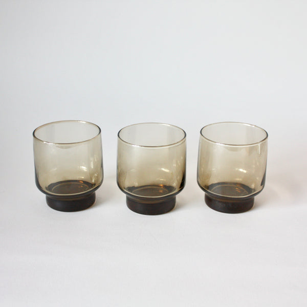 1970's Vintage Smoked Tumbler Glasses