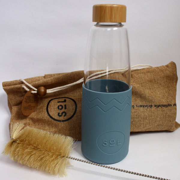 Glass Bottle, Brush & Pouch - Blue