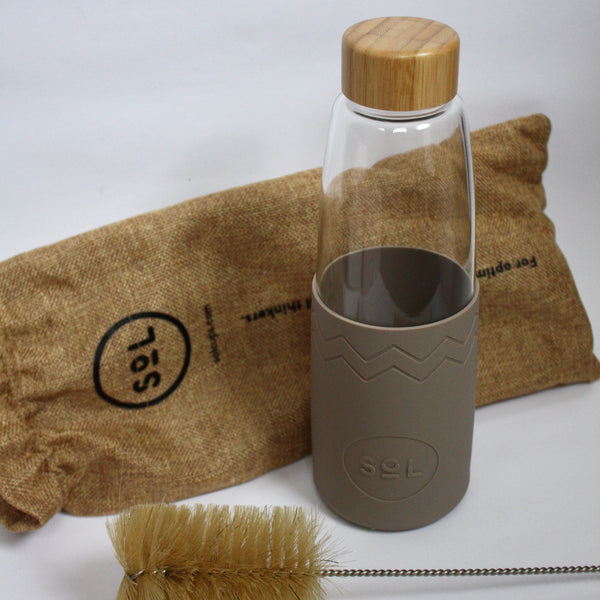 Glass Water Bottle, Brush & Pouch - Slate
