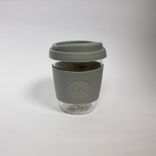 Glass Coffee Cup 12oz Grey