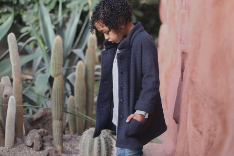 Sustainable woolen kids coat by Kioko Kids