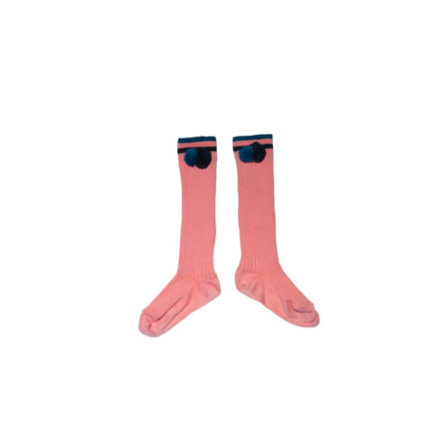 KNEE HIGH SOCKS WITH POMPOMS PINK
