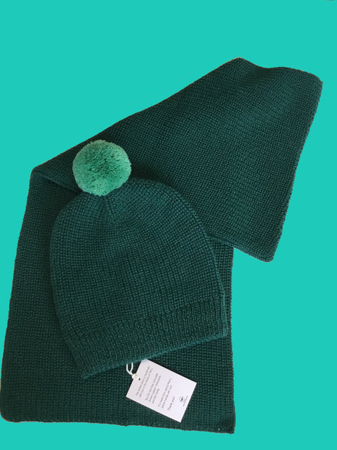KIMMY KNITTED SCARF TUCK STITCH SCARF GREEN