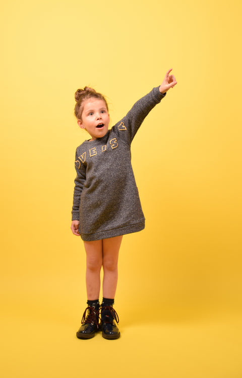 DERI SWEATERDRESS LOVE YELLOW