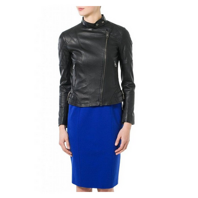 Women Mandarin Collar Cross Zipped Genuine Leather  Black Jacket