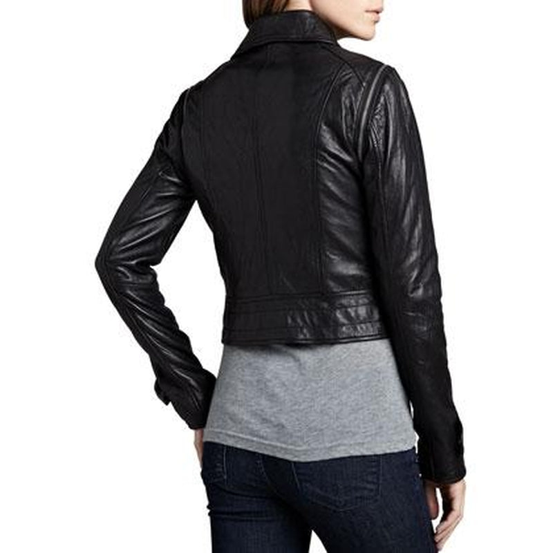 Women Black Short Trendy And Modern Fashion Biker Genuine Leather Jacket