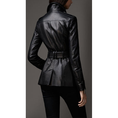 Women Trending And Rich Looking Black Coat Type Leather Jacket