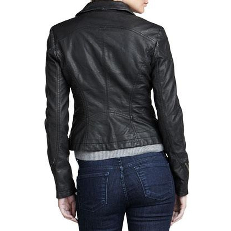 Women Black Genuine Leather Jacket For Biker Girls