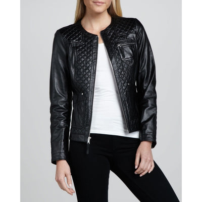 Women Round Collar With Trending Front Pattern Black Genuine Leather Jacket