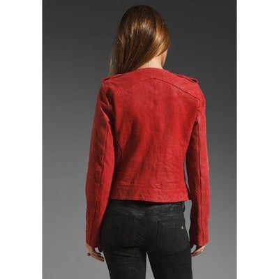 Women Matt Red Super Sexy Style Genuine Leather Jacket