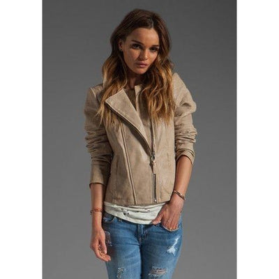 Women Cream Notch Lapel Collared Genuine Leather Jacket