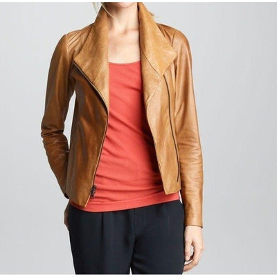Women Perfect Polished Brown Leather Jacket With Notch Lapel Style