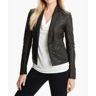 Women Black genuine Leather Jacket For Daily Wear