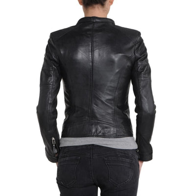Women Mandarin Collar  With Button Motorcycle Slim Fit Genuine Leather Jacket
