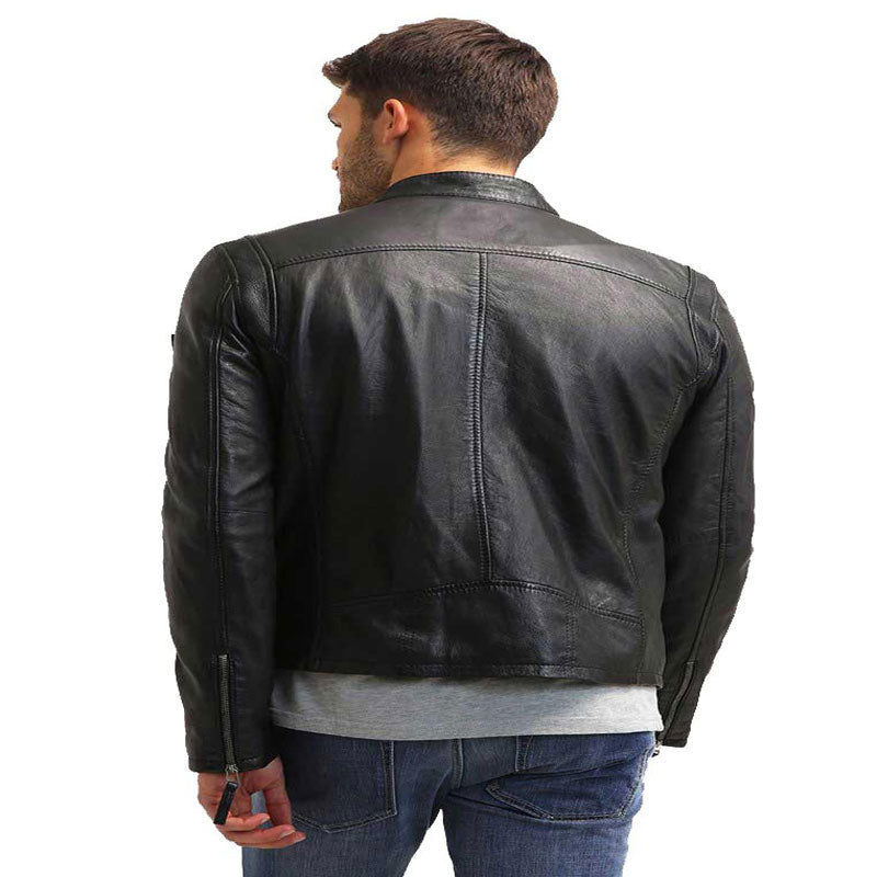 Ryland Casual Black Genuine Leather Jacket