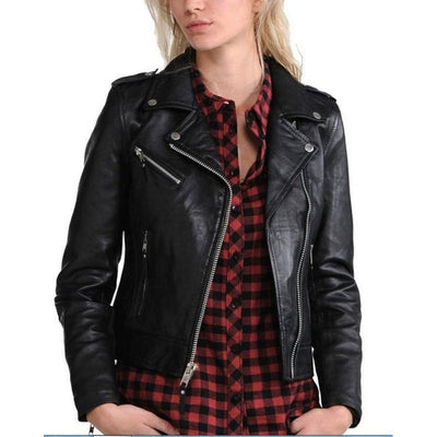 Women Tough Slim Fit Notch Lapel Fashionable And Stylish Genuine Leather Jacket