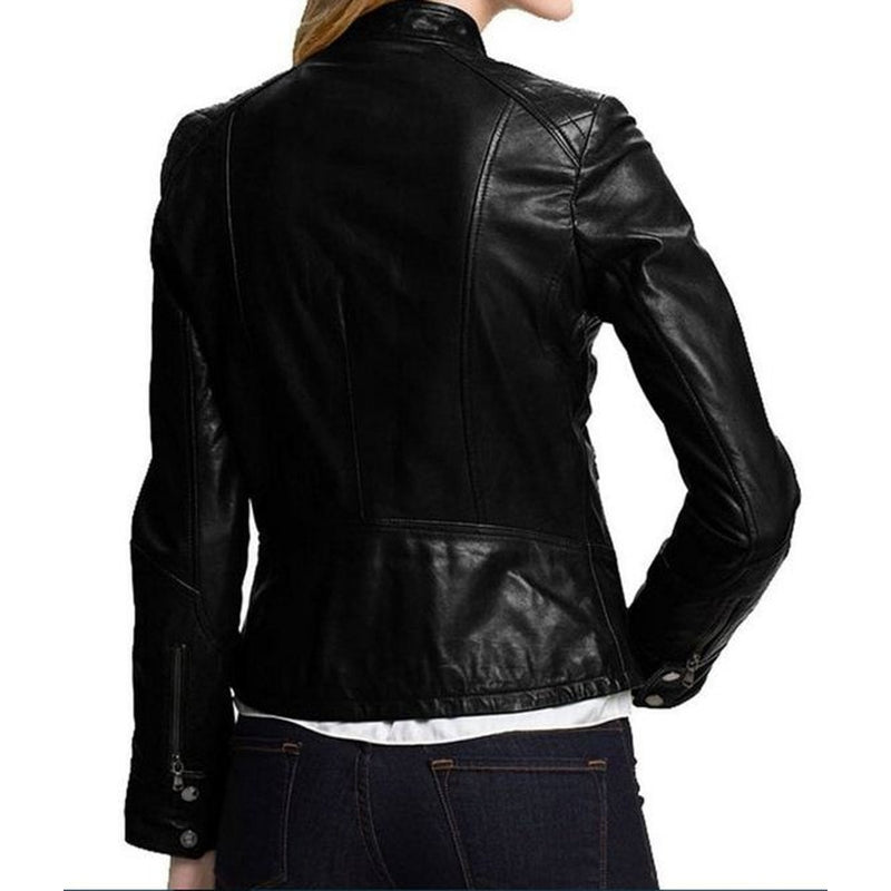 Women Flat Front Pocket Shiny  Genuine Leather Jacket With Short Stand Collar