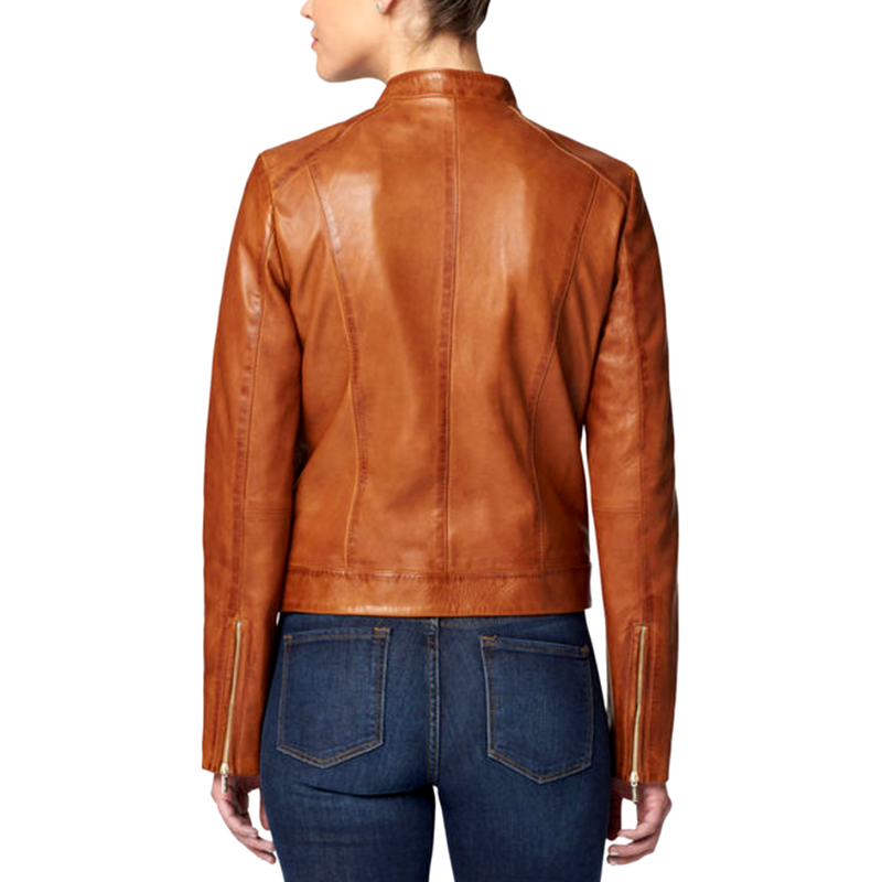 Women Casual Brown Motorcycle Elegant Style Genuine Leather Jacket