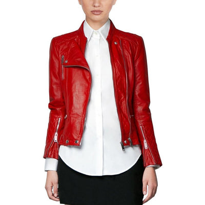 Women Flat Pocket Notch Lapel Collared Genuine Leather Jacket