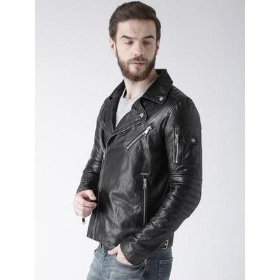 Attractive Men Zipper Black Plain Leather Jacket-Men Leather Jackets-[leather jackets for men]-[genuine leather jackets for men]-[brown leather jackets for men]-[black leather jackets for men]-ShopperFiesta