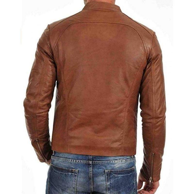 KINZEL Brown Stylish Genuine Leather Jacket MJ20-Men Leather Jackets-[leather jackets for men]-[genuine leather jackets for men]-[brown leather jackets for men]-[black leather jackets for men]-ShopperFiesta