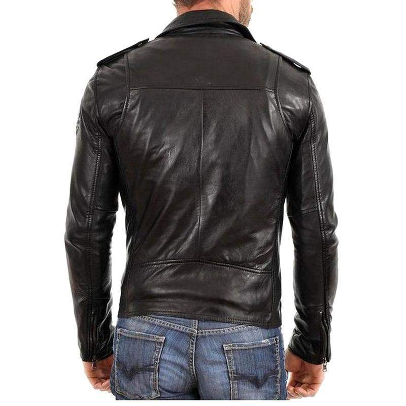 Legros Black Leather Jacket MJ11-Men Leather Jackets-[leather jackets for men]-[genuine leather jackets for men]-[brown leather jackets for men]-[black leather jackets for men]-ShopperFiesta