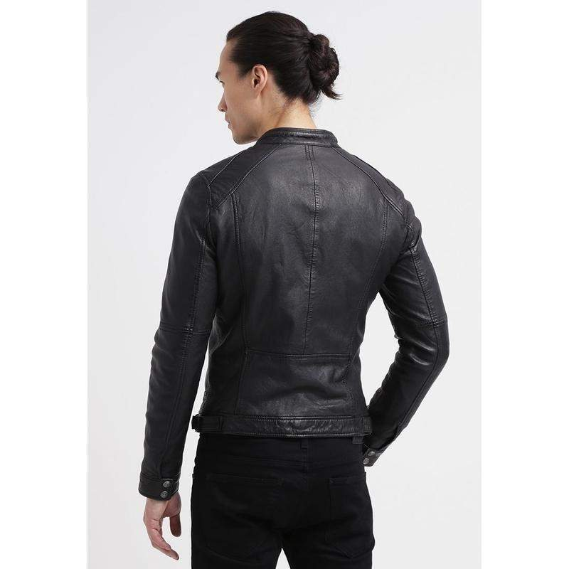 LINSEY Black Genuine Leather Jacket MJ18-Men Leather Jackets-[leather jackets for men]-[genuine leather jackets for men]-[brown leather jackets for men]-[black leather jackets for men]-ShopperFiesta