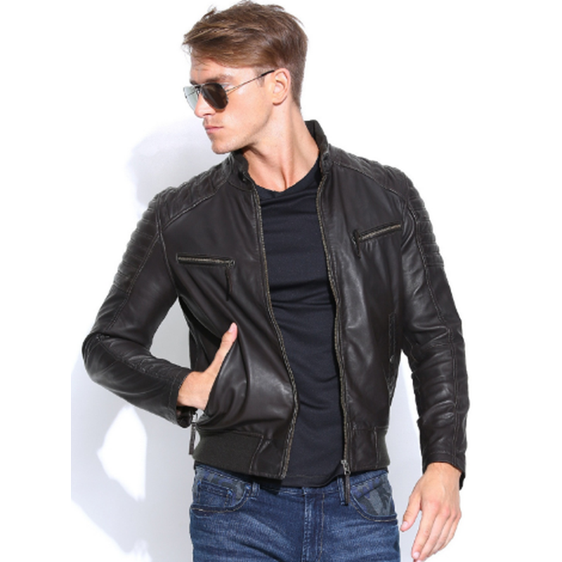 LYDA Black Biker Leather Jacket MJ17-Men Leather Jackets-[leather jackets for men]-[genuine leather jackets for men]-[brown leather jackets for men]-[black leather jackets for men]-ShopperFiesta