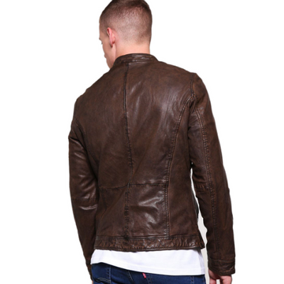 Mcroy Dark Brown Leather Biker Jacket MJ07-Men Leather Jackets-[leather jackets for men]-[genuine leather jackets for men]-[brown leather jackets for men]-[black leather jackets for men]-ShopperFiesta