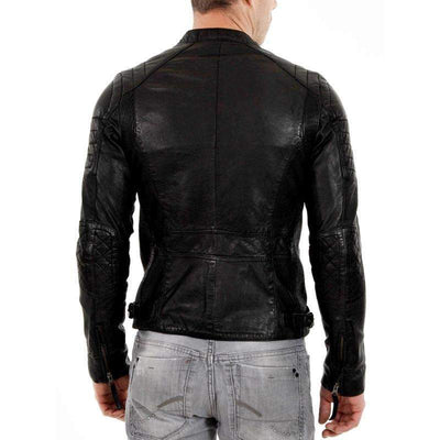 Men Black Genuine Leather Jacket With Front Flat Pockets-Men Leather Jackets-[leather jackets for men]-[genuine leather jackets for men]-[brown leather jackets for men]-[black leather jackets for men]-ShopperFiesta