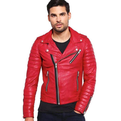 Men Red Casual Genuine Leather Jacket-Men Leather Jackets-[leather jackets for men]-[genuine leather jackets for men]-[brown leather jackets for men]-[black leather jackets for men]-ShopperFiesta