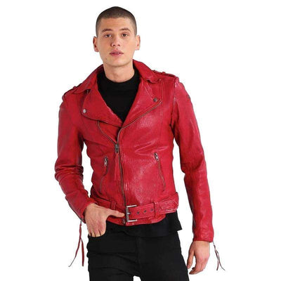 Men Red Casual Sheepskin Genuine Leather Jacket-Men Leather Jackets-[leather jackets for men]-[genuine leather jackets for men]-[brown leather jackets for men]-[black leather jackets for men]-ShopperFiesta