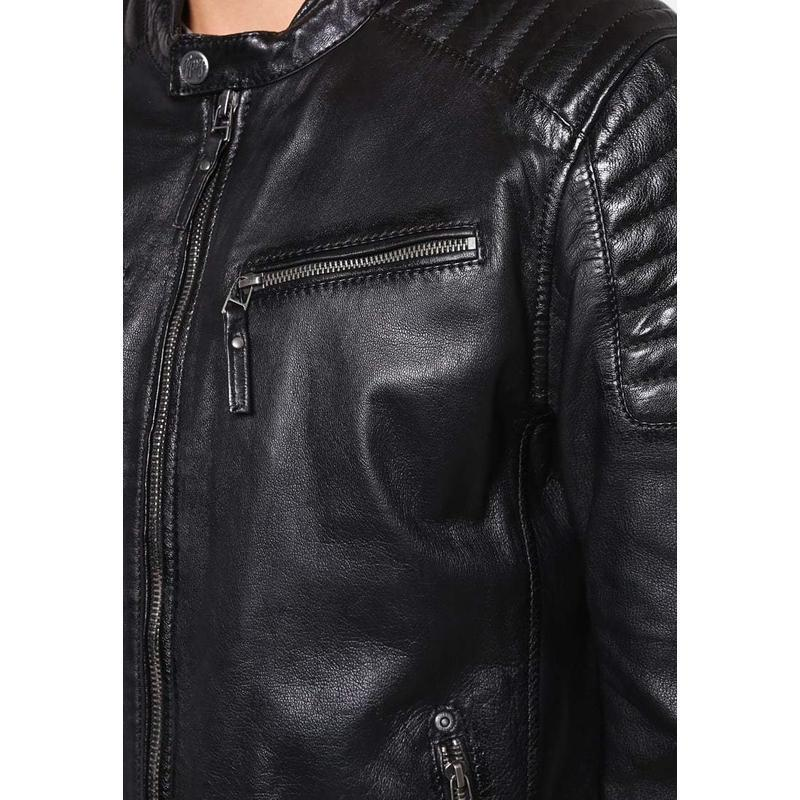 Mikellson Black Motorcycle Leather Jacket MJ03-Men Leather Jackets-[leather jackets for men]-[genuine leather jackets for men]-[brown leather jackets for men]-[black leather jackets for men]-ShopperFiesta