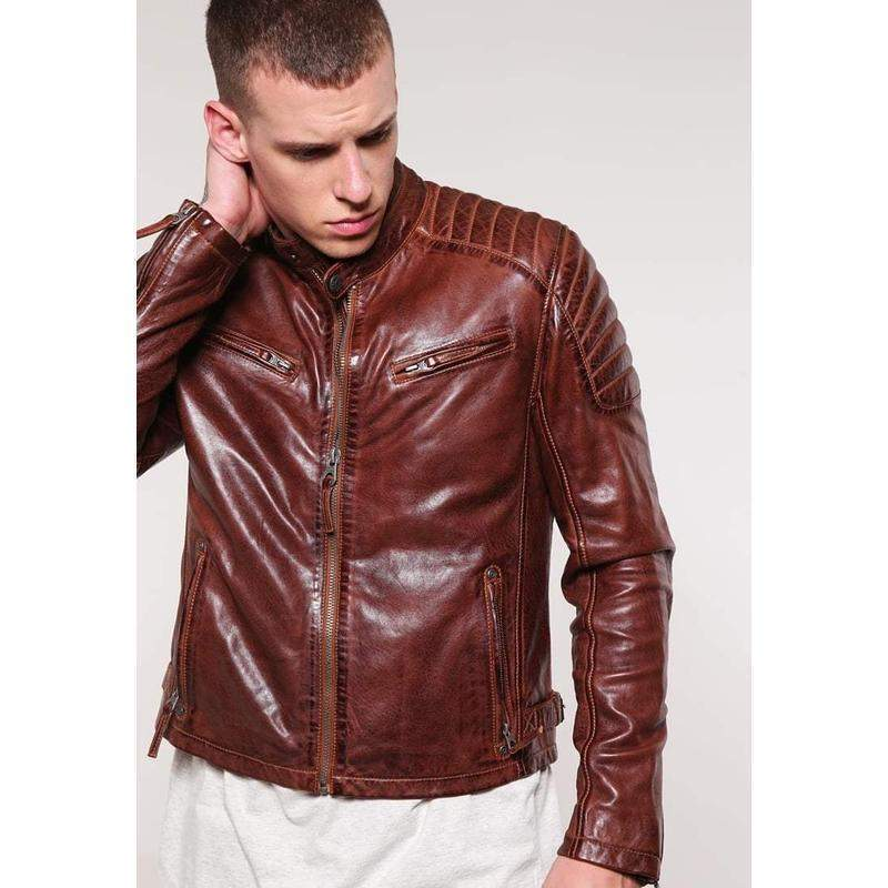 Santora Brown Leather Quilted Jacket MJ05-Men Leather Jackets-[leather jackets for men]-[genuine leather jackets for men]-[brown leather jackets for men]-[black leather jackets for men]-ShopperFiesta