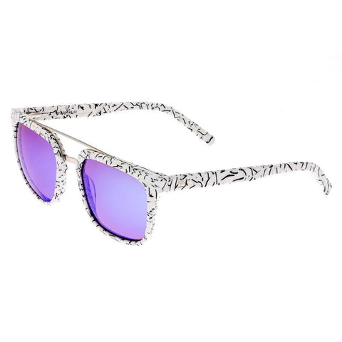 Sixty One Lindquist Polarized Sunglasses - White Marble/Purple-Blue SIXS137BL