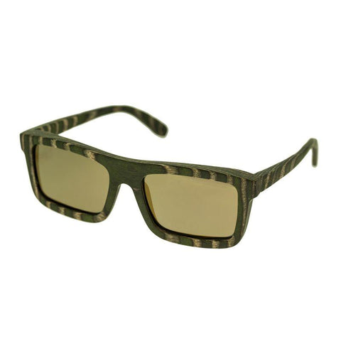 Spectrum Garcia Wood Polarized Sunglasses - Green Zebra/Gold SSGS120GD