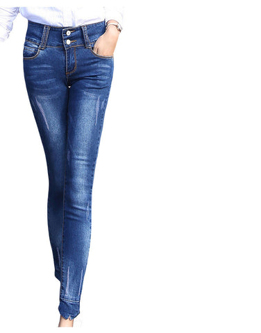 2016 New Fashion Women Jeans High-waist Regular  Pencil Pants Casual Skinny Slim Elastic Denim Pants Korean Style Femme Trousers