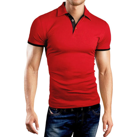 Mens Clothing Camisas Polo Homme 2017 Mens Polo Shirt Short-Sleeve Solid Plus Size Turn Down Collar Shirt Slim Hooded Camisa