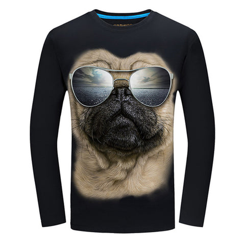 4 Colors Fashion Spring T Shirt Men 2017 Glasses 3D Dog Print Long Sleeve Casual Tops Tees Plus Size 3XL 4XL Male Trend T-Shirts