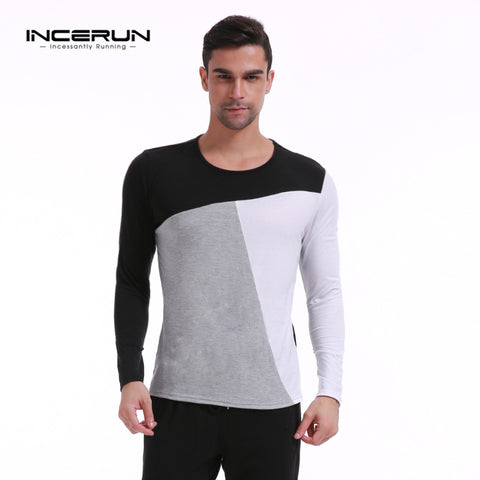 2017 Plus Size Brand T Shirt Mens Patchwork Long Sleeve Crew Neck Cotton Blend Tees Tops Men's T-Shirt Casual Slim Fit Shirts