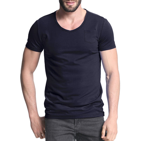 2017 Summer Men's T-shirts Short Sleeve Crew Neck Slim Fit T-Shirt For Mens Plain Tee Top Male Men Casual T Shirt With Pockets