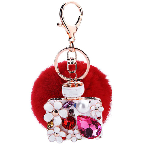 2017 Purfume Bottle Pendant Fur Pompom Keychain Pom pom Rhinestone Bag Charm Fur Ball Key Chain Holder Sleutelhanger Chaveiro