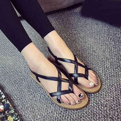 Women Summer Flat Shoes Bandage Bohemia Leisure Lady Sandals Peep-Toe Outdoor Shoes #LREW
