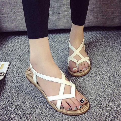 Women Peep-Toe SandalsZYUPUP Bohemian Flat Heel Sandals Outdoor Leisure Bandage Shoes