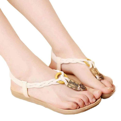 MUQGEW  Women Sandals Hemp Ladies Flip Flops Bohemia Woman Shoes Comfort Beach Summer Flat Sandals #LREW