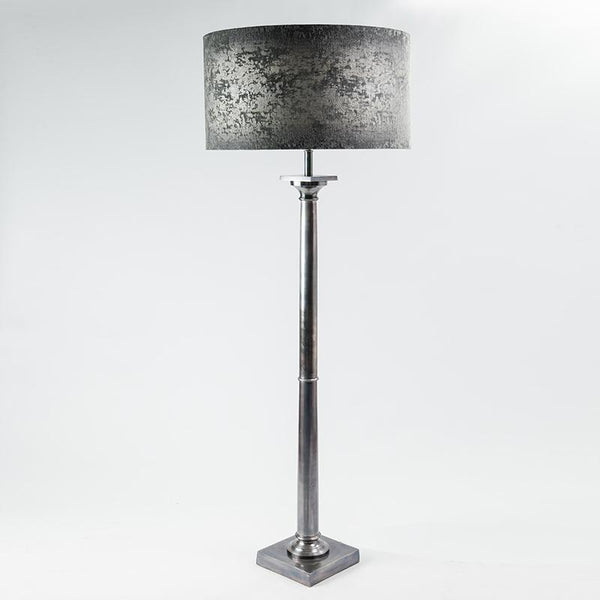 Doric Floor Lamp Burnished Pewter with Baroque Silver Shade